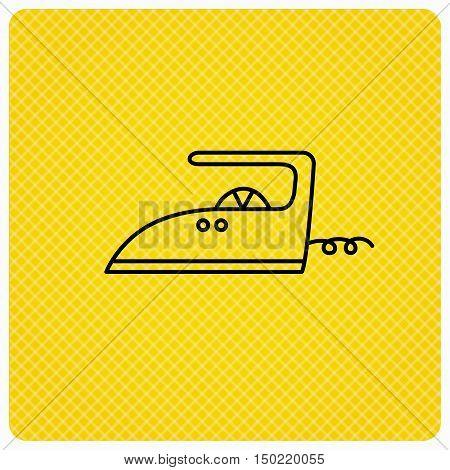 Iron icon. Ironing housework sign. Laundry service symbol. Linear icon on orange background. Vector