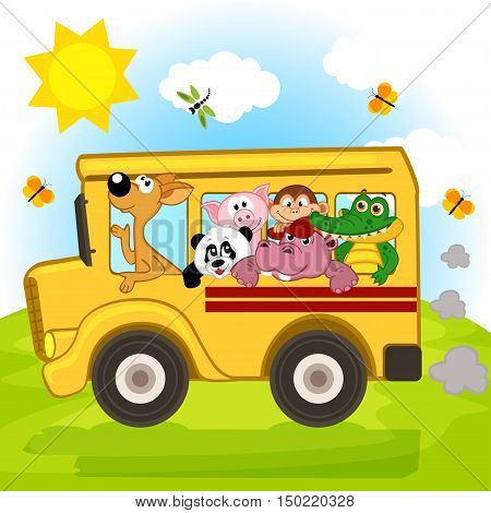 animals on the bus - vector illustration, eps