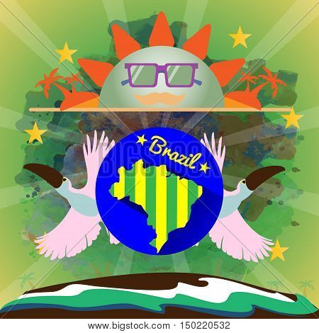 Digital vector blue sun with sunglasses, brazil party, toucan birds and brazilian flag, flat style