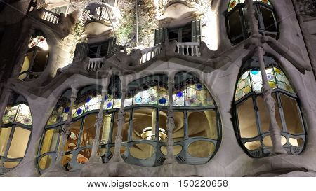 Barcelona, Spain - June 24, 2016: Illuminated facade of Casa Batllo at night