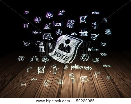 Politics concept: Glowing Ballot icon in grunge dark room with Wooden Floor, black background with  Hand Drawn Politics Icons