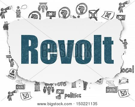 Politics concept: Painted blue text Revolt on Torn Paper background with  Hand Drawn Politics Icons