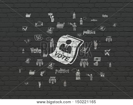 Politics concept: Painted white Ballot icon on Black Brick wall background with  Hand Drawn Politics Icons