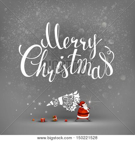 Merry Christmas hand drawn inscription and Santa Claus with stylized fir tree and gifts on the gray background.