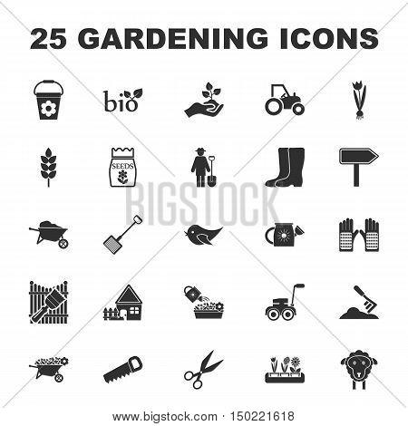 farm, gardening 25 black simple icons set for web design