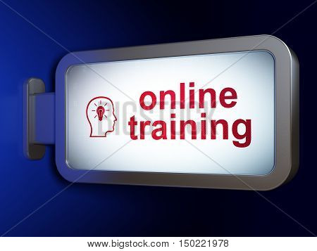 Education concept: Online Training and Head With Lightbulb on advertising billboard background, 3D rendering