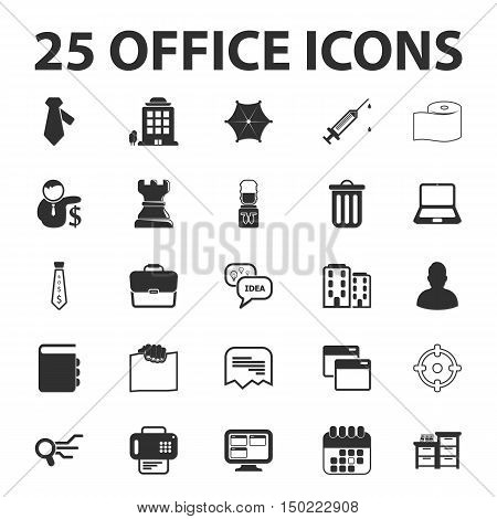 Business, Finance, office 25 black simple icons set for web