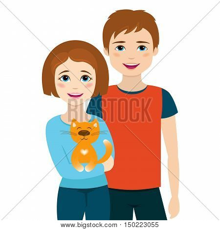 Boy and girl brothers with cat. Vector illustration. Brother and sister with animal.