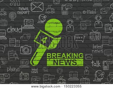 News concept: Painted green Breaking News And Microphone icon on Black Brick wall background with  Hand Drawn News Icons