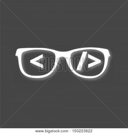 White Code flat icon on gray background