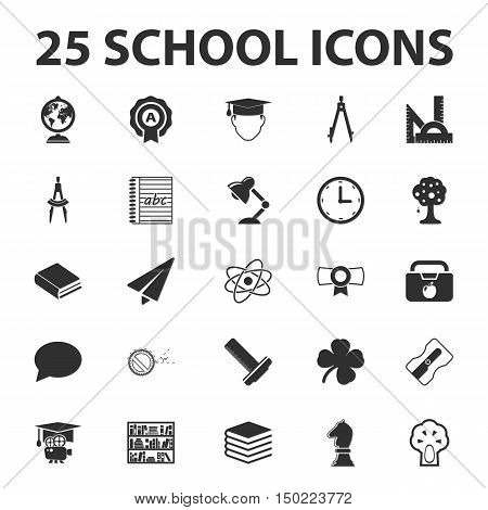 School, education, teaching 25 black simple icons set for web