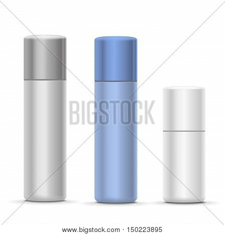 White and silver Bottles of aerosol spray, metal bottle for cosmetic, perfume or hairspray. Deodorant packing