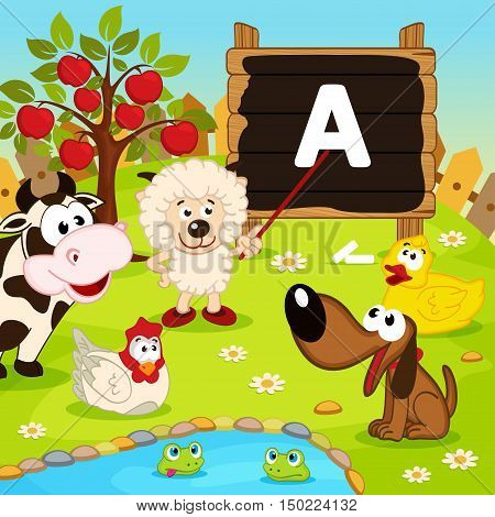 sheep teaches animals - vector illustration, eps