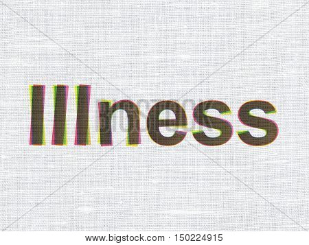 Healthcare concept: CMYK Illness on linen fabric texture background