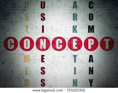 Advertising concept: Painted red word Concept in solving Crossword Puzzle on Digital Data Paper background