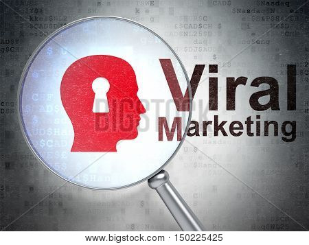 Advertising concept: magnifying optical glass with Head With Keyhole icon and Viral Marketing word on digital background, 3D rendering