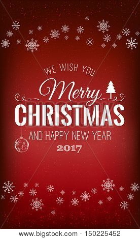 Christmas And New Year Typographical On Shiny Xmas Background Wi