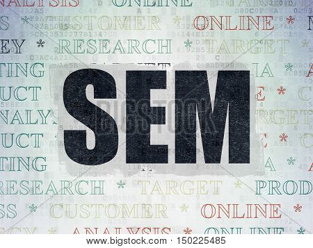 Advertising concept: Painted black text SEM on Digital Data Paper background with   Tag Cloud