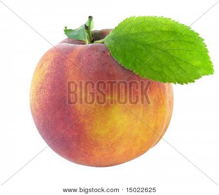 fresh peach with green leaf isolated with clipping path included
