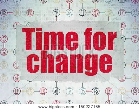 Timeline concept: Painted red text Time for Change on Digital Data Paper background with  Scheme Of Hexadecimal Code