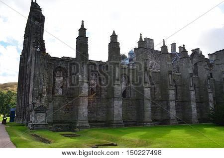 Ruins of Holyrood Abbey in Edinburgh Scotland.