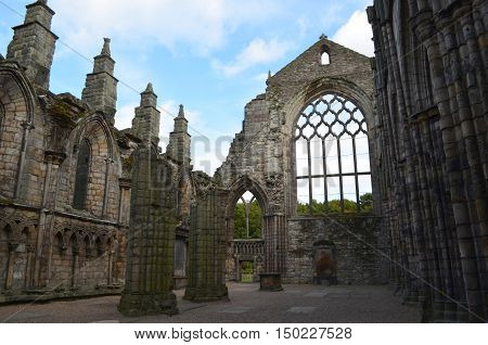 Standing stone ruins of Holyrood Abbey in Old Town Edinburgh.