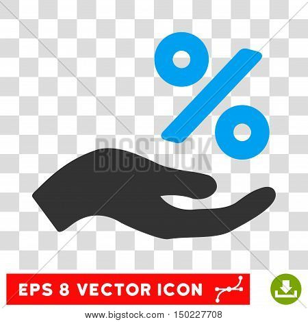 Percent Offer Hand vector icon. Image style is a flat blue and gray pictograph symbol.