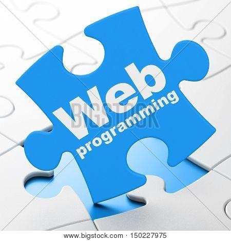 Web development concept: Web Programming on Blue puzzle pieces background, 3D rendering