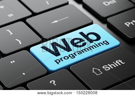 Web design concept: computer keyboard with word Web Programming, selected focus on enter button background, 3D rendering
