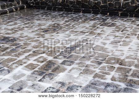 Salines of Tamarin Mauritius detail salt picture