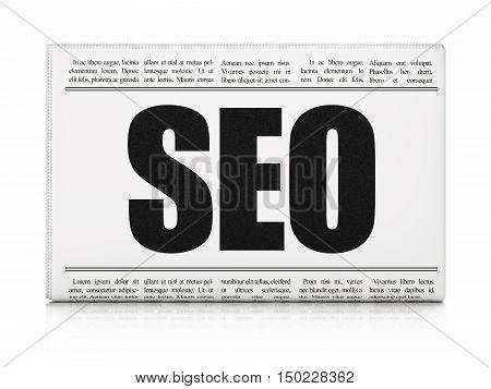 Web design concept: newspaper headline SEO on White background, 3D rendering