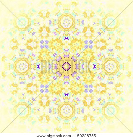 Abstract geometric seamless background. Regular floral ornament in yellow shades, purple and aquamarine, centered and blurred.