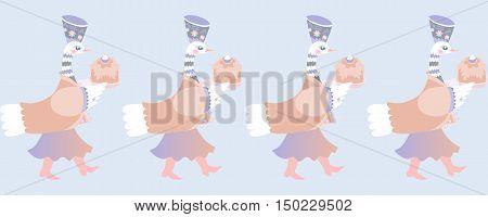Border with beautiful fairy ducks. Vector illustration.