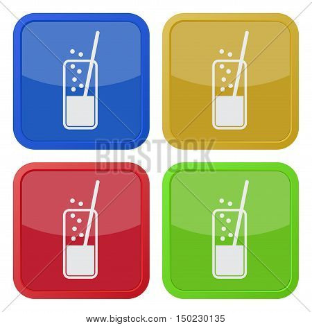 set of four colored square icons - glass with carbonated drink and straw