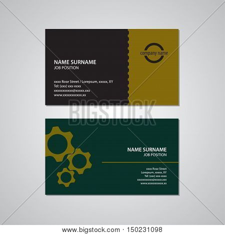 set of two business cards gears teeth black yellow gold and green color with white text - Canada and USA standard 35 x 2 in or 889 x 508 mm