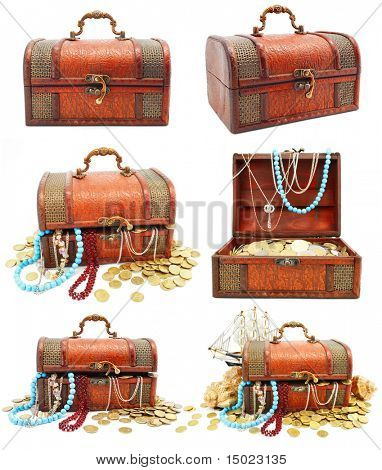 collection of ancient wooden trunks with money isolated on white background