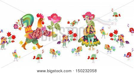 Border with fairy rooster and hen. Vector illustration.