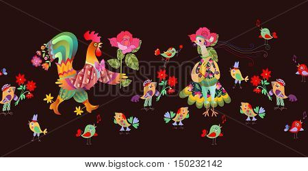 Seamless border with fairy and hen. Vector illustration. Year of the rooster.