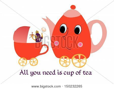 Maternal child cute cartoon poster card with teapot-mother kettle-baby and cup-stroller.