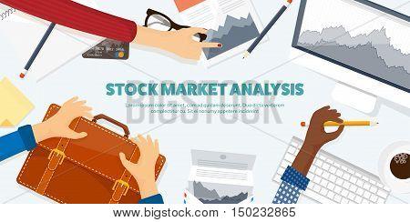 Vector illustration. Flat background. Market trade. Trading platform , account Moneymakingbusiness Analysis Investing