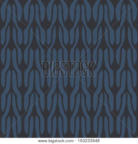 Decorative knit seamless pattern. Hand drawn endless balck and blue knitting ornament. Trendy messy knitwork texture. Vector design for cloth, backdrops, apparel, wrapping, wallpaper