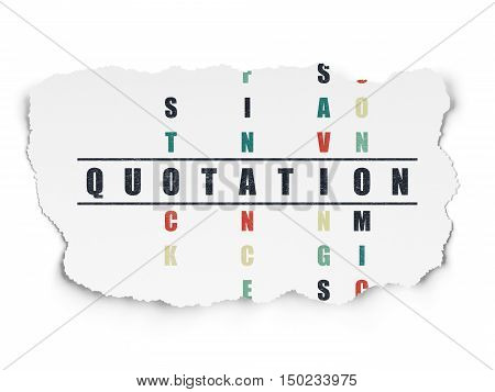 Currency concept: Painted black word Quotation in solving Crossword Puzzle on Torn Paper background