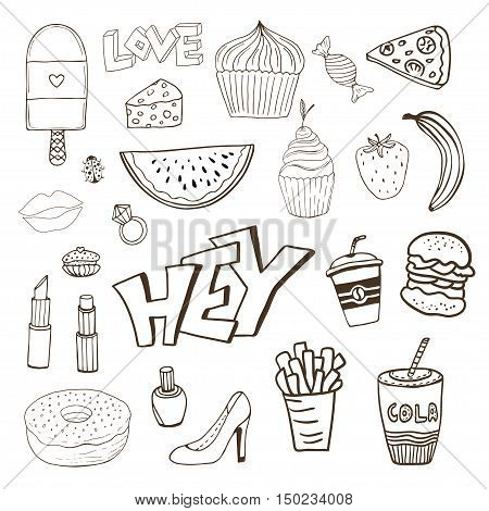 Isolated elements with sweets food and girly elements. Vector doodle funny badges. Modern vector clip art. Cartoon line icons