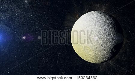 Tethus Solar system planet on nebula background