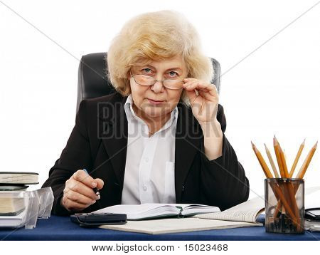 business woman at the table isolated on white background