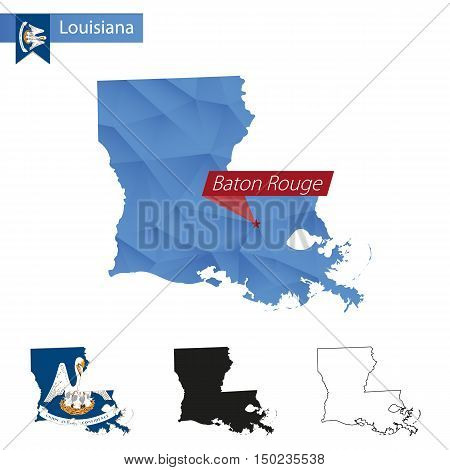 State Of Louisiana Blue Low Poly Map With Capital Baton Rouge.