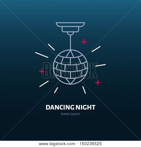 Disco ball symbol retro dance party. Modern vector thin line icon of dancing night. Linear disco ball pictograms for music event dance club. Disco ball pictogram for music banner web site.