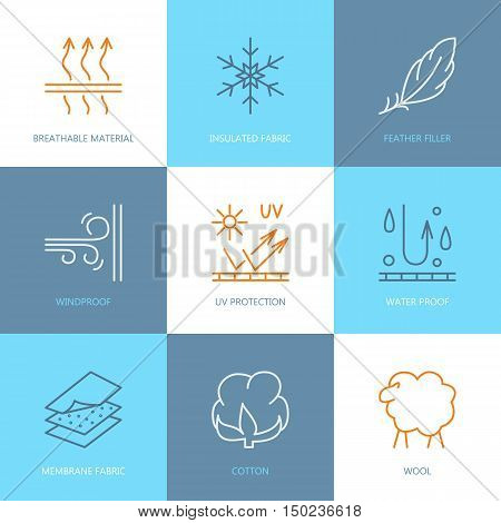 Vector line icons of fabric feature garments property symbols. Elements - wind proof wool waterproof uv protection. Linear wear labels textile industry pictogram for clothes.