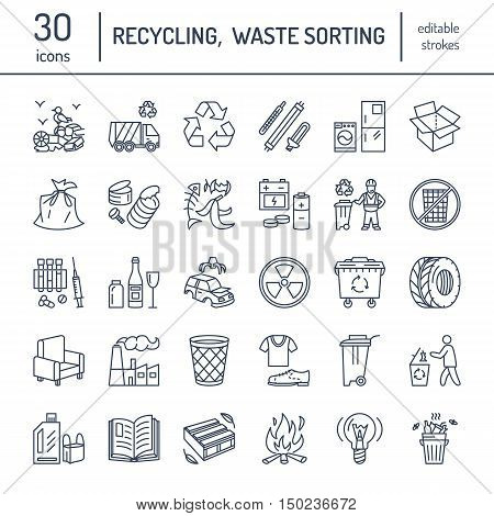 Modern vector line icon of waste sorting recycling. Garbage collection. Recyclable waste - paper glass plastic metal. Linear pictogram with editable stroke for poster brochure of waste types.
