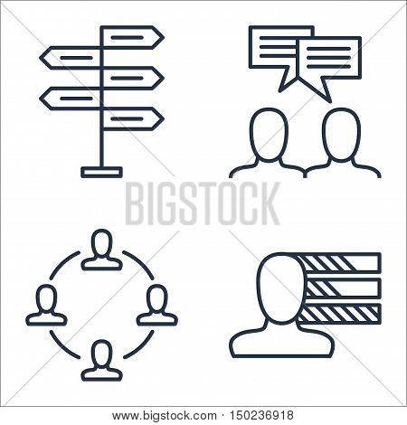 Set Of Project Management Icons On Personality, Decision Making, Team Meeting And More. Premium Qual